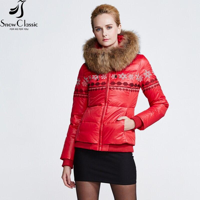 SnowClassic téli igazi mosómedve szőrme gallér lefelé Coats parkas kabát Női 80% fehér kacsa vastag rövid téli kabát 12446