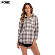 PGSD 2019 New Fashion spring women clothes Medium length Casual Long sleeves Turn-down Collar Pockets Plaid Shirt female