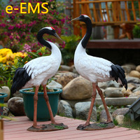 Simulation Red crowned Crane Statue Resin Craftwork Landscaping Ornaments Garden Animal Decoration G2375