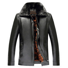 Men leather jackets New arrival Winter brand plus Velvet thick Warm Motorcycle Business Casual Mens Leather