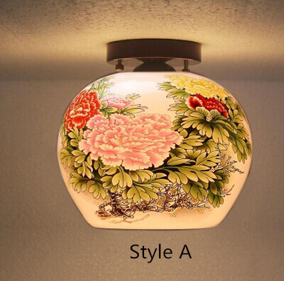 ФОТО Hand painted,Chinese Style,Jingdezhen Ceramic,ceiling Light,For living room Dining Aisle The entrance,Bulb Included