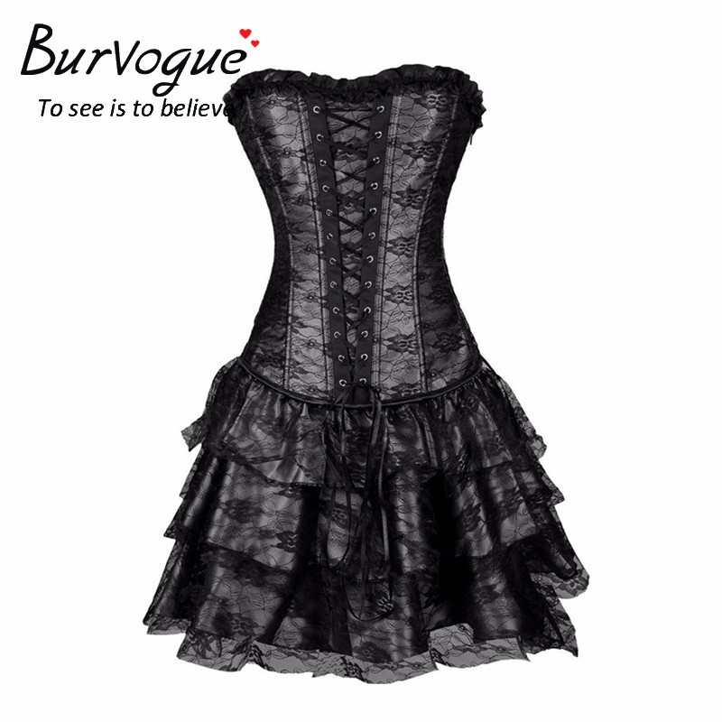Burvogue Sexy Steampunk Corsets and Bustiers Burlesque Gothic Lace Steampunk Corset Dress Plus ზომა კოსტუმი ყვავილების Bustier Dress