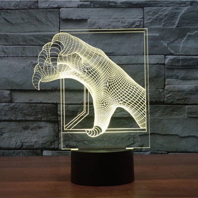 Drop Shipping 1Piece Multi-colored 3D Dinosaur Claw Mood Lamp Lighting Dragon Claw Led Night Light