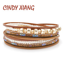CINDY XIANG 2 Colors Choose Pearl And Crystal Beads Bracelets For Women Leather Rope Twisted Bangles Cuff Bangle Fashion Summer цена