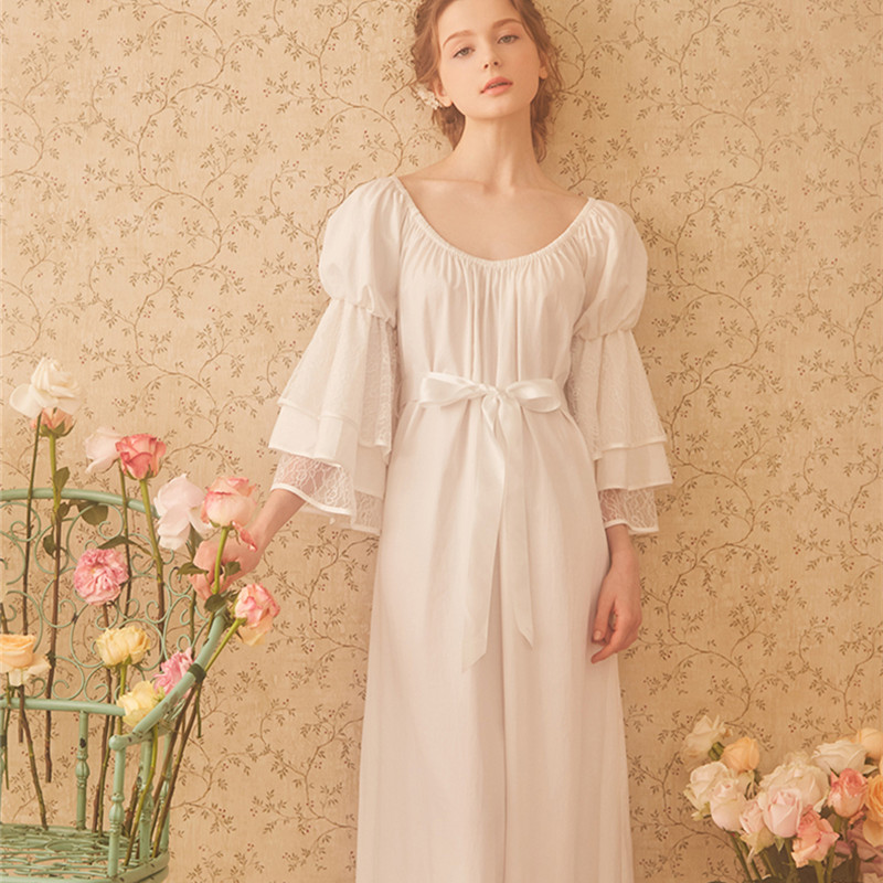 Ladies Sleepwear Cotton Princess Nightdress Classical Royal Nightgown  Puff Sleeve Mid-calf Round Neck Sleepwear
