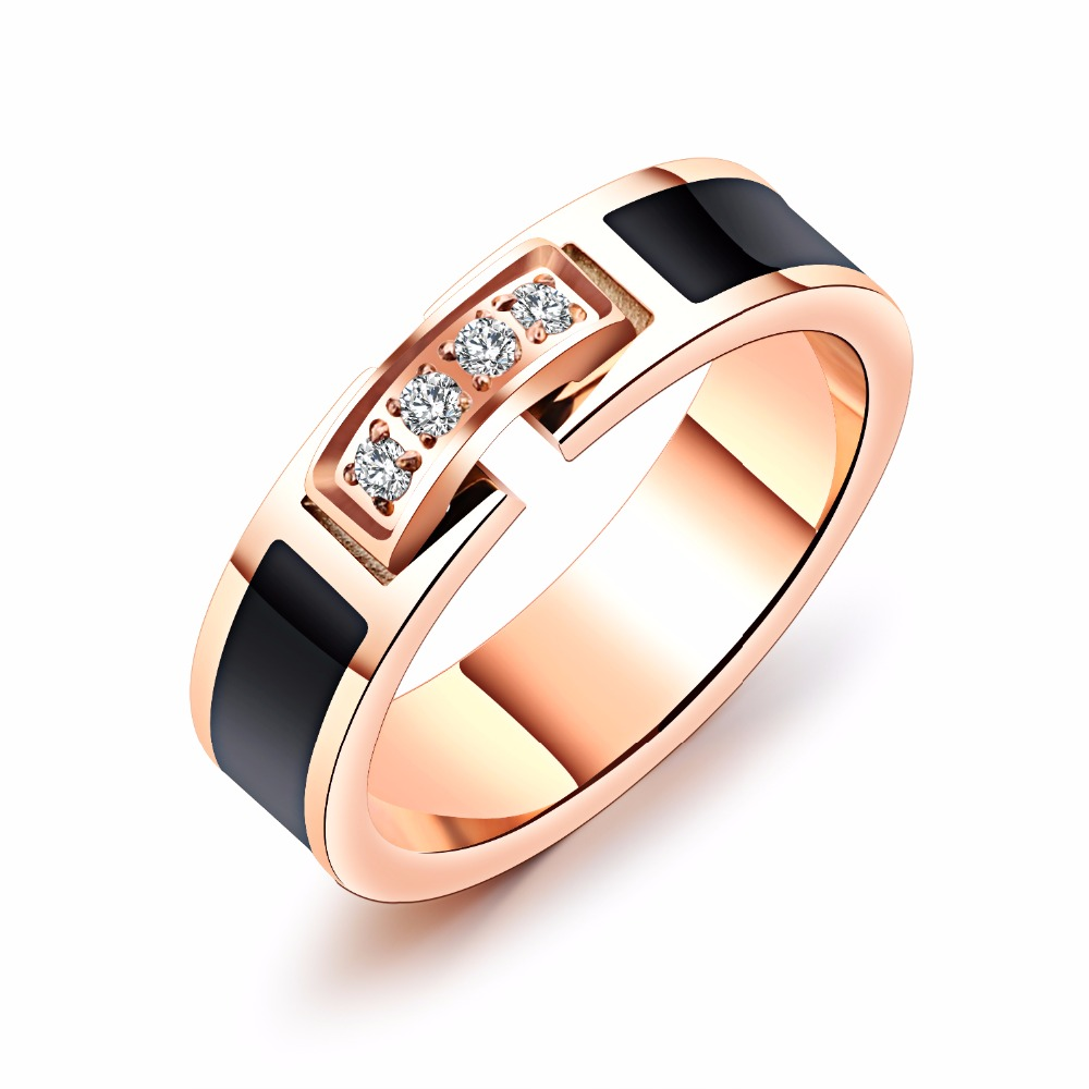 Fashion Rose Gold Color Stainless Steel Wedding Ring For Women Female Cubic Zirconia Party Finger Jewelry Gift Accessories