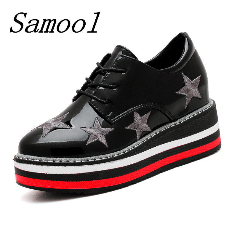 Brand Spring Women Flat Platform Shoes Woman Brogue Fashion Leather Flats Lace Up Footwear Female Oxford Shoes For Women fx3 наборы для рисования цветной картины по номерам берег моря