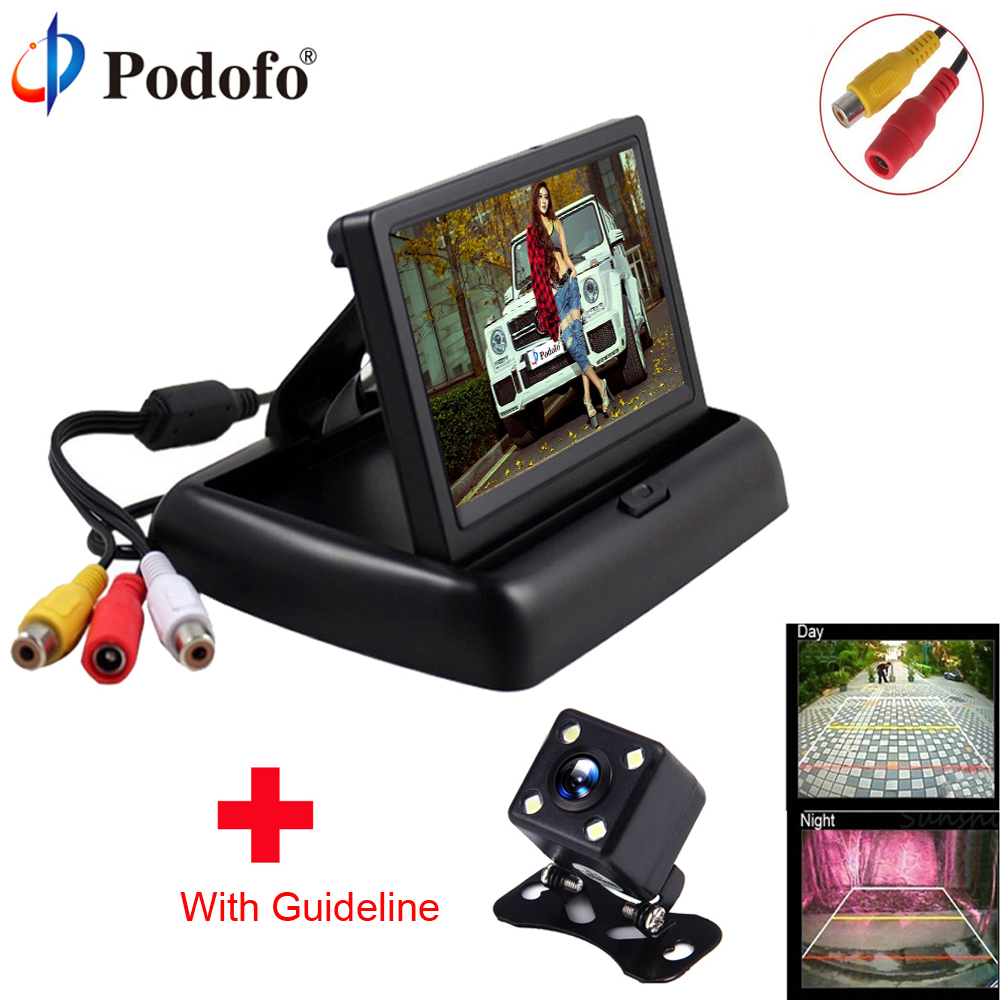 Podofo Car Monitor 4.3 TFT Foldable Display for Rear View Camera Auto Parking Backup Reverse Monitor CCD 170 degree for Vehicle
