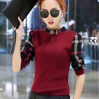 2016 Korean Fashion Casual Female Shirt Long Sleeved Autumn New Arrivals Stand Collar Slim Shirt Color