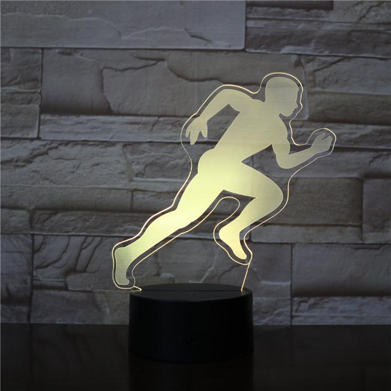 MALE Men RUNNER 3D Led Night Light Touch Sensor Decorative Lamp Child Kids Baby Kit Nightlight 3D Lamp Decor Fly Sports Gift