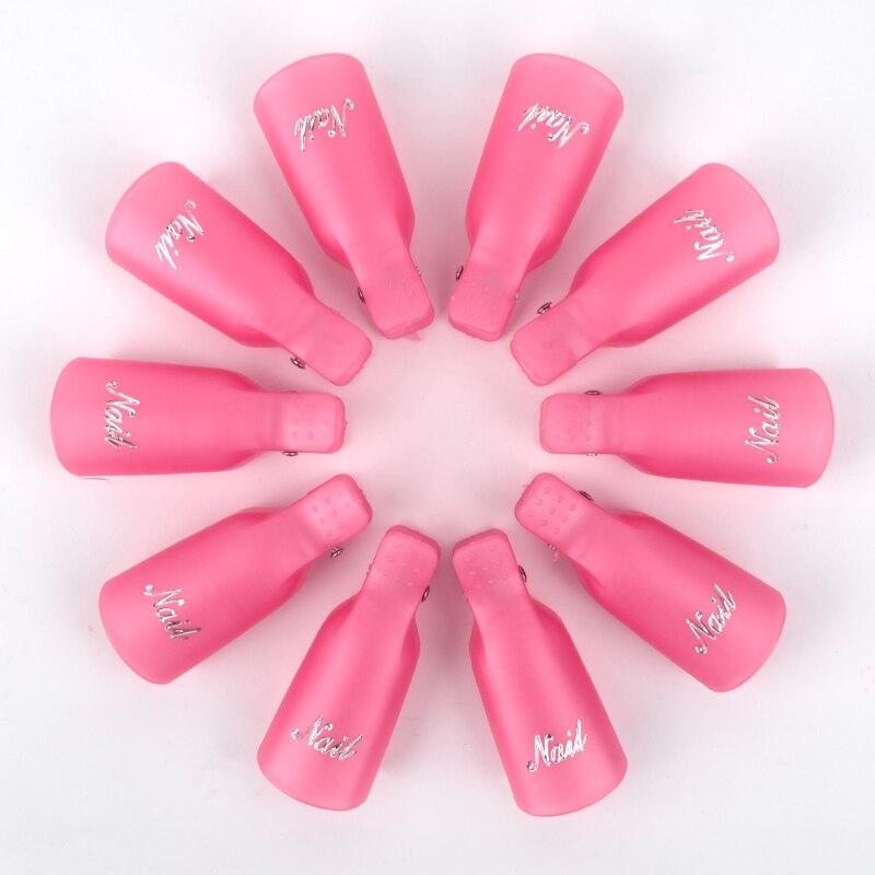 10PCS Plastic Nail Art Soak Off Cap Clip For Fingers Pink Color Cap UV Gel Polish Remover Wrap For Nail Art Remove Tips