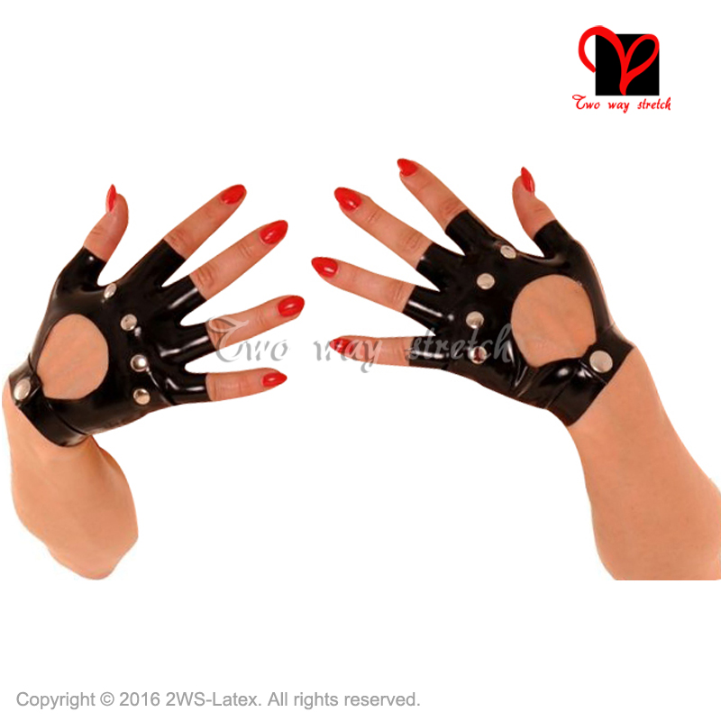 Sexy Black Fingerless Latex Gloves with holes Buttons Rubber Mittens Gummi Glovelettes ruffles Wristlets Knuckle black