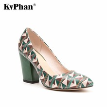 KvPhan Geometric Pattern High Heels Women Shoes Ginuine Leather Shallow Mouth Slip-on Casual Shoe Square Heels Dress Women Shoes