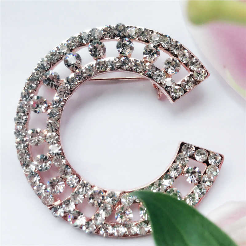 ba702d4bda9ce Sparkly Full Rhinestone C Letter Brooch Hijab Pins Broche For Women Men  Scarf Clothes Sweater Letter Crystal Brooches Pin