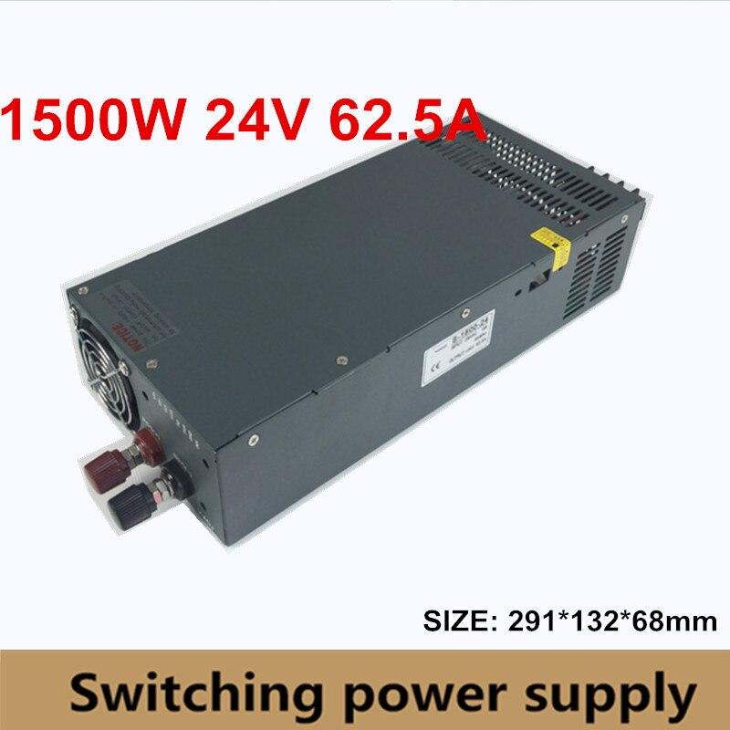 Alimentation à découpage S-1500-24 1500 W 24 v 62.5A, alimentation à courant alternatif parallèle à sortie unique, transformateur AC110V/220 V à courant continu 24 V