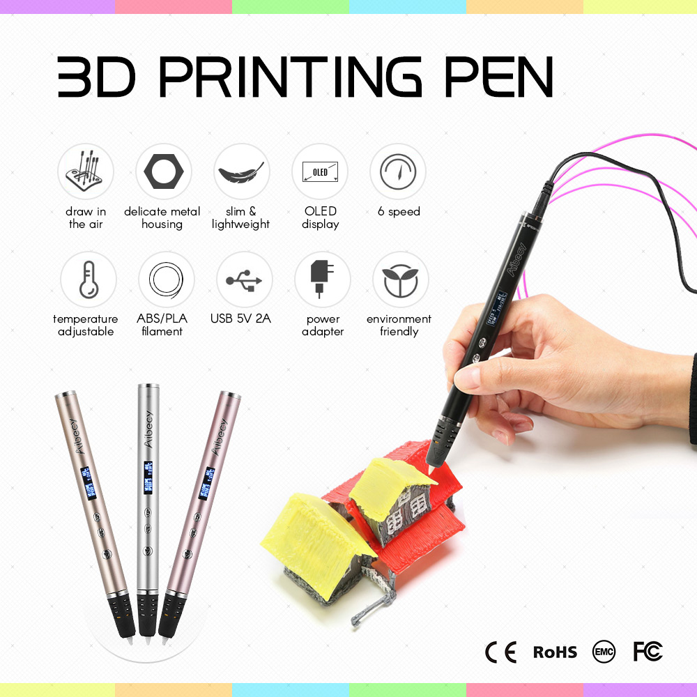 Aibecy 3D Printing Pen OLED Display Metal Housing work ABS PLA Filament 3D Pens for Kids Art Craft Drawing DIY Gift scribble pen