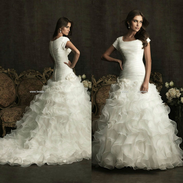 Ruched Modest s Organza Floor Length Ball Gown Square Neckline Short ...