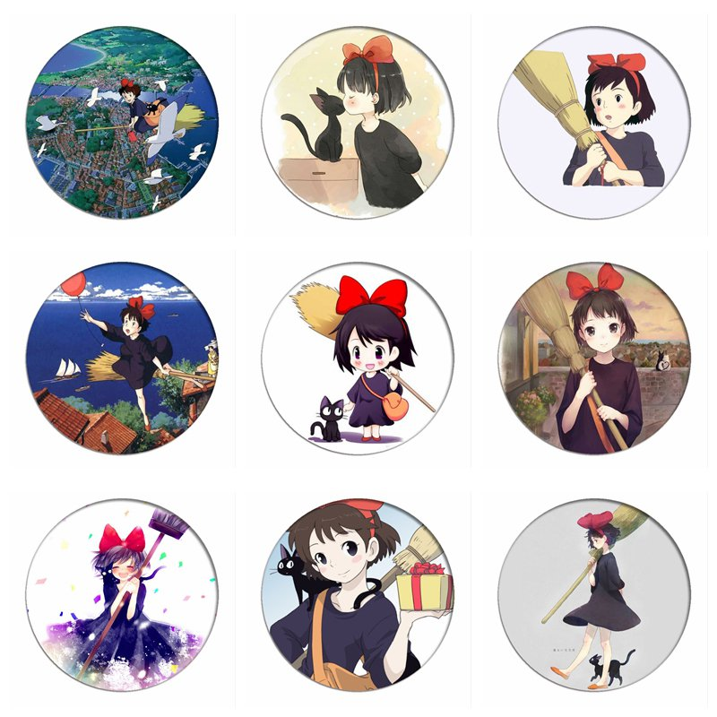 1pcs Kiki's Delivery Service Cosplay Badge Magic Kiki Cute Brooch Pins Collection Badges For Backpacks Clothes
