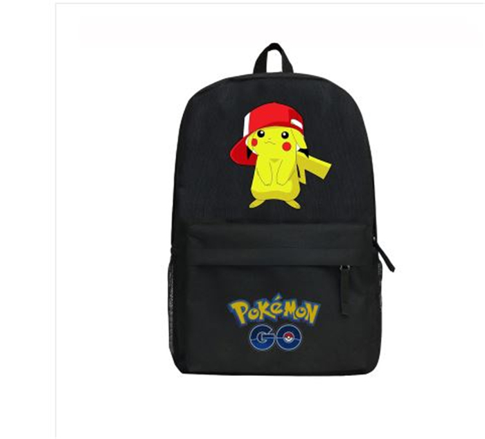 GAME Pokemon GO Pocket Monster Pikachu Ash Ketchum backpack Black Canvas Shoulder bag School Bag women man Travel bag
