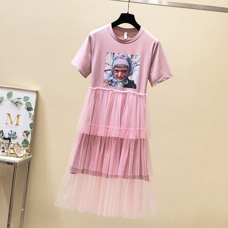 4G 2019 women s summer new fashion mesh stitching dress foreign skirt hq145 cherry