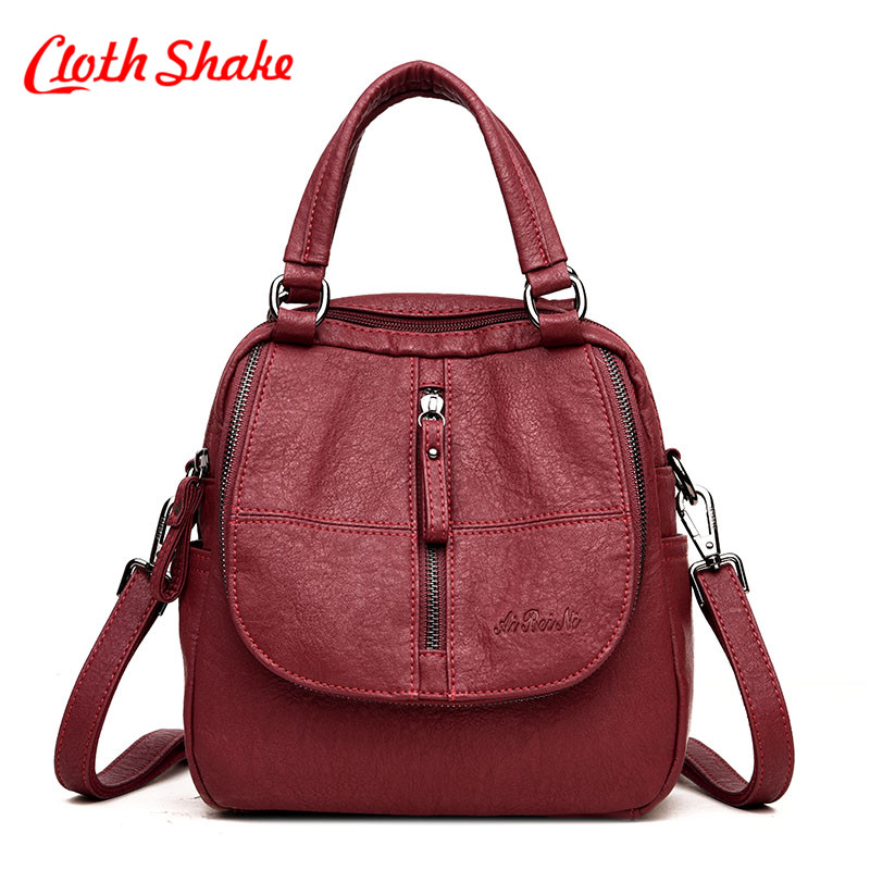 Cloth shake New Travel Lightweight Backpack Fashion Women Female Rucksack Leisure Student School bag Soft PU Leather Women Bag 2018 new rivet pu leather backpack women fashion school bag casual patent leather travel bag women backpack monster school bag