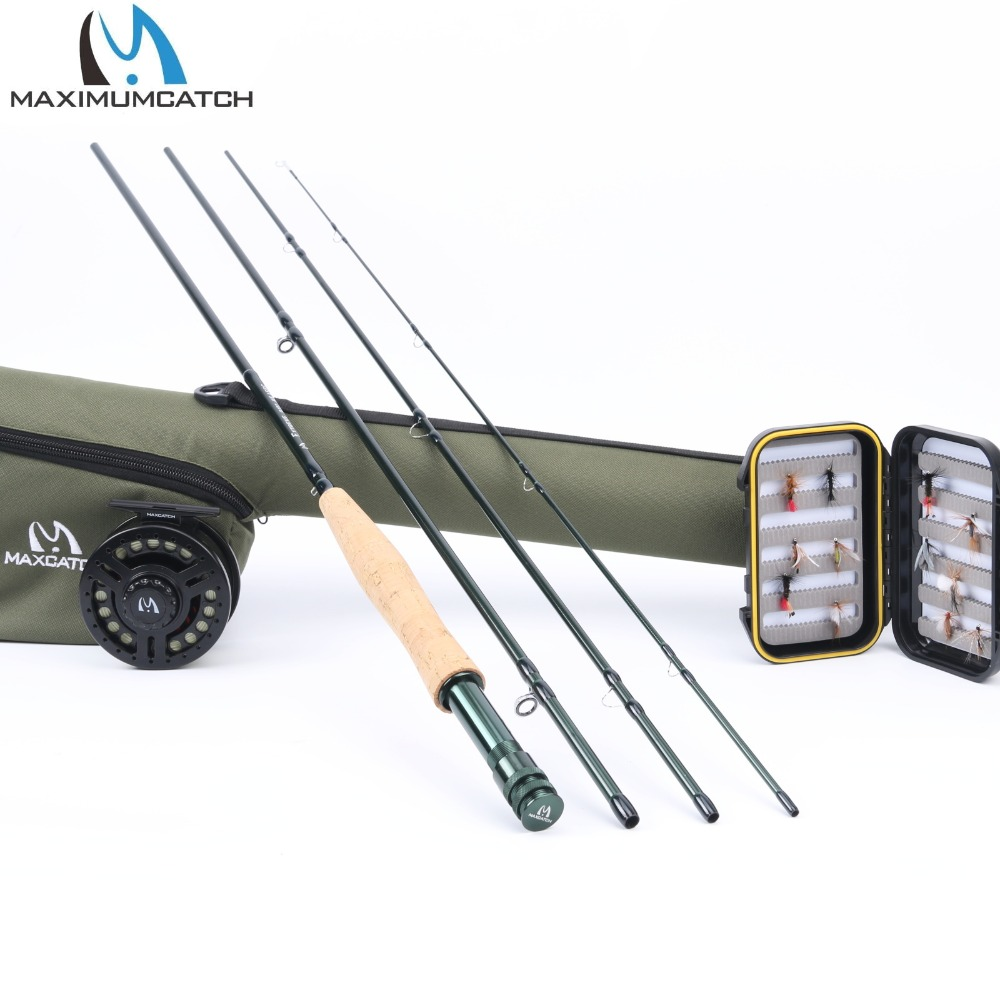 Maximumcatch 5weight Fly Fishing Combo Included 5wt 9' Rod, 5/6wt Reel, Pre-loaded Fly Line, Box with Flies, Essential Accessory free shipping 5 6 4 segments sections fly fishing rod full metal reel water proof rod bag lines box lure set kit