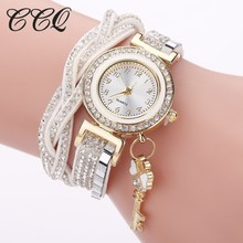 CCQ Women Fashion Leather Bracelet Watch Casual Ladies Crystal Key Pendant Watch Clock Gift Drop Shipping Relogio Feminino