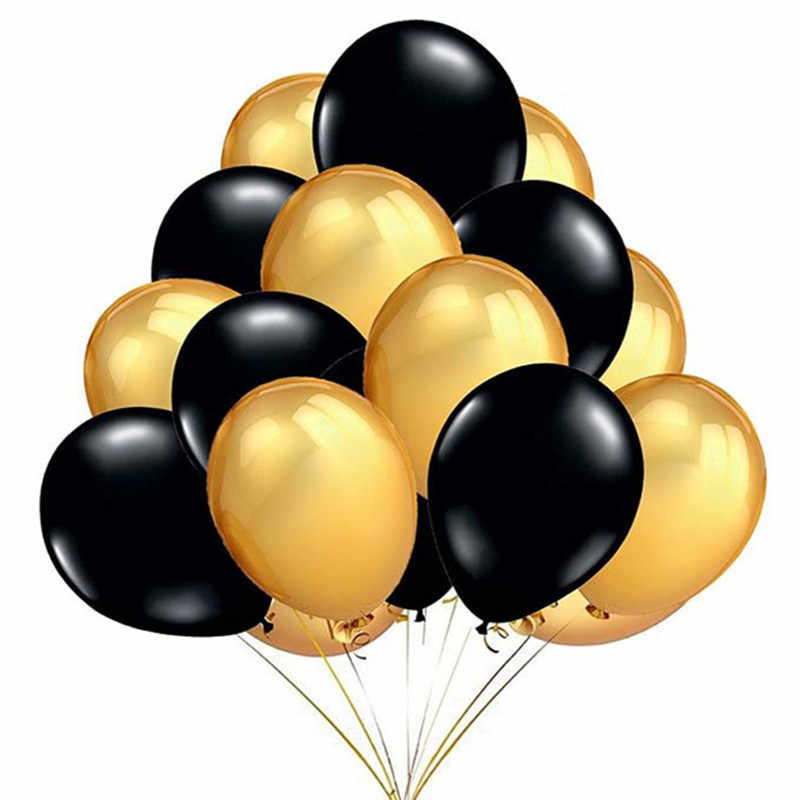 20pcs/set Gold Silver Black Latex Balloons 12inch Pearl Birthday Wedding Party Balloons Baby Shower Anniversary Decors Supplies