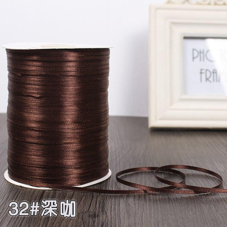 3 мм атласная лента 22 м/лот DIY ручной работы, товары для рукоделия, свадебные, для дня рождения, подарочная упаковка, белые, розовые, бежевые, кремовые ленты - Цвет: Dark Brown