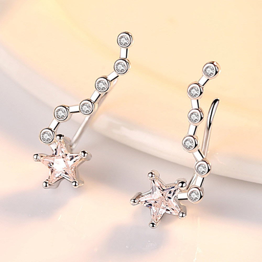 Promotion 925 sterling silver fashion shiny crystal star ladies stud earrings jewelry female Anti allergy drop shipping gift in Stud Earrings from Jewelry Accessories