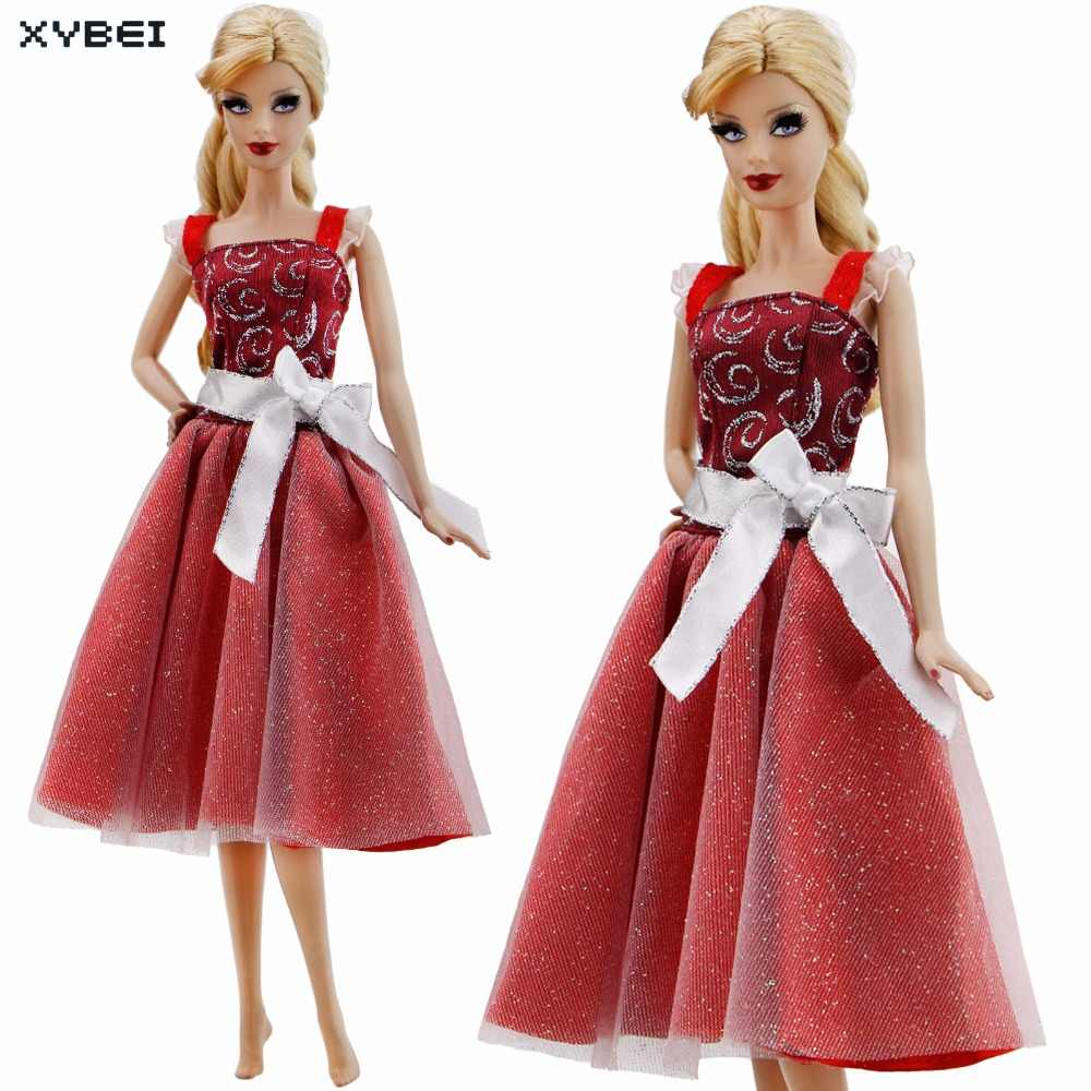 0cf974a434826 Fashion Elegant Red Dress Wedding Evening Party Gown White Bowknot Gallus  Skirt Clothes For Barbie Doll Accessories Kid Gift Toy