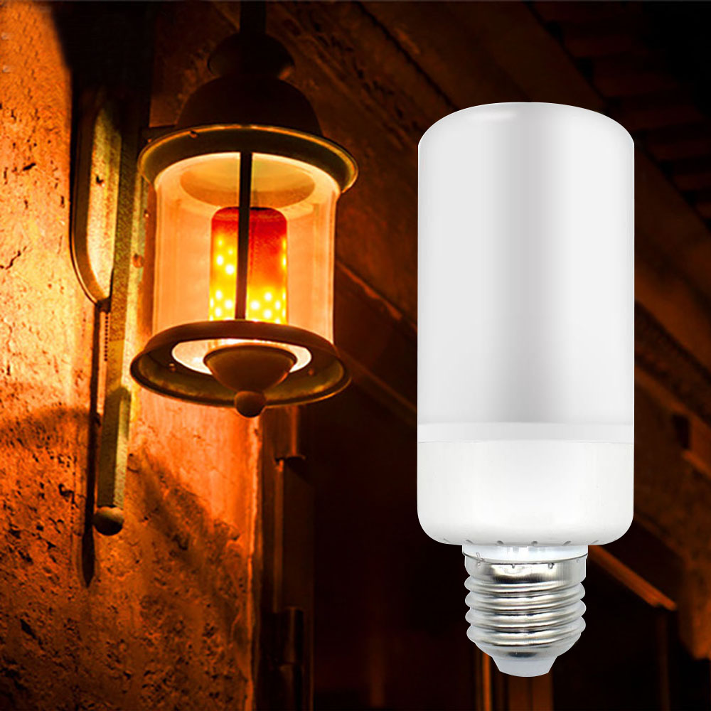 LED Burning Light Flicker Flame Lamp E27 E26 E14 Bulb Fire Effect Decorative