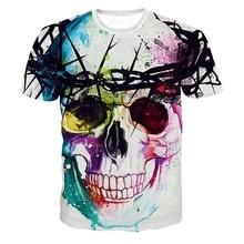 ФОТО 2018 new fashion summer designer skull 3d t shirt women/men unisex o-neck short sleeve