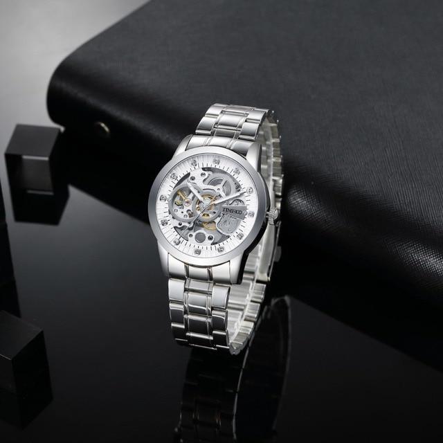 TIME100 - Mechanical Self Wind Skeleton Watch Stainless Steel 3
