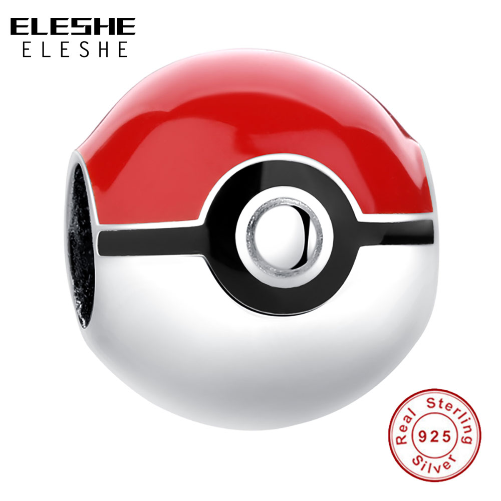 ELESHE Real 925 Sterling Silver Pikachu Elf Bead Pokemon Ash Ball Charm Fit Original Pandora Bracelet DIY Authentic Jewelry