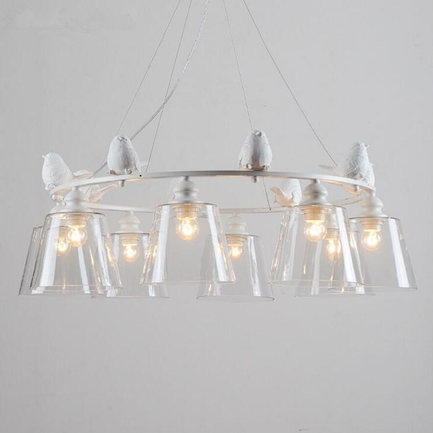 US $127.98 20% OFF Neue kunst harz vogel Anhänger Lichter led lampen  wohnzimmer led Anhänger lampen E27 led licht glas led lustre licht anhänger  lampe ...