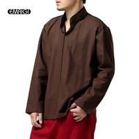 2016 Men Brand Fashion Tops Tees Shirts Loose T Shirt Men High Quality Linen Chinese Casual