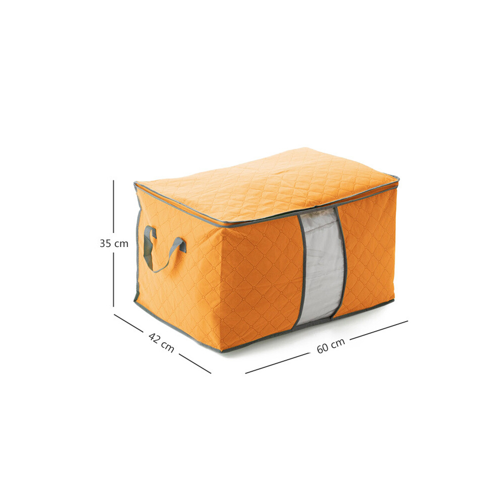 Large Pillow Box Foldable Clothes Blanket Underbed Storage Bag Container Organizer Compact E Saver Orange In Bags From Home Garden