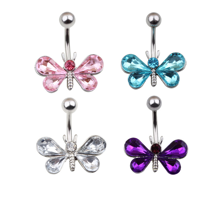 1 Piece 316L Stainless Steel Dragonfly Belly Button Ring -7673