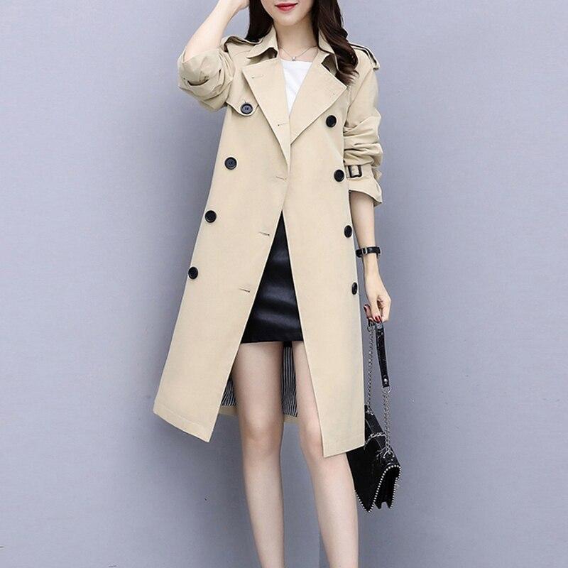 2019 New Spring Plus Size Women's Windbreaker Fashion Autumn Long   Trench   Coat Ladies Outerwear Harajuku Loose Women Overcoat 5XL
