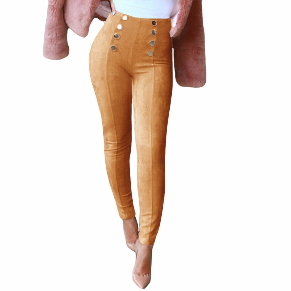 New Autumn Sexy Women Slim Faux Suede Pants Side Zipper Elegant High Waist Trousers Skinny Pencil Leather Pants Pantalon Femme