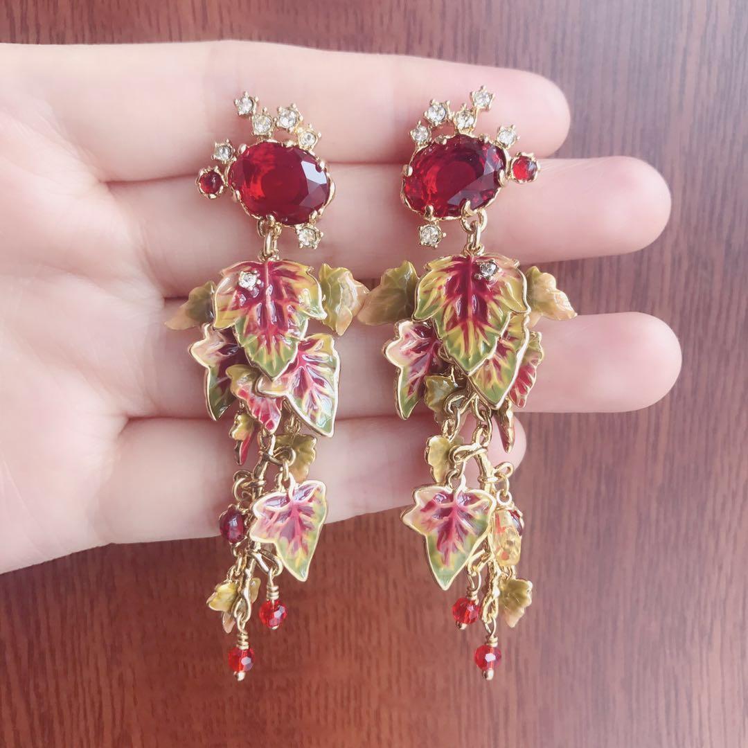 2019 amybaby 가을 빨간색면 처리 된 유리 크리스탈과 단풍 나무 에나멜 유약 드롭 스터드 귀걸이 쥬얼리 파티-에서보석 세트부터 쥬얼리 및 액세서리 의  그룹 1