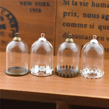 5set 30*20mm hollow tube glass jar with setting base beads cap set vials pendant bottle jewelry findings
