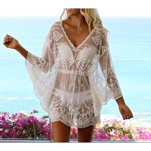 2019 Sexy Lace Bikini Dress Cover-Up Long Sleeves Beach Dresses Women Sheer Tunic Perspective Summer Dress цена
