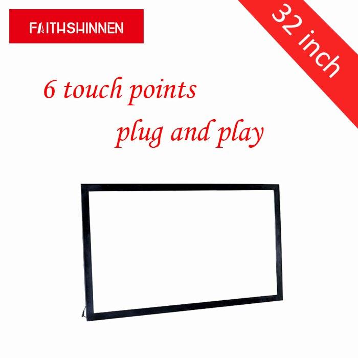 32 pouce IR multi écran tactile overlay cadre infrarouge multi touch cadre USB cadre 6 points de contact sans verre
