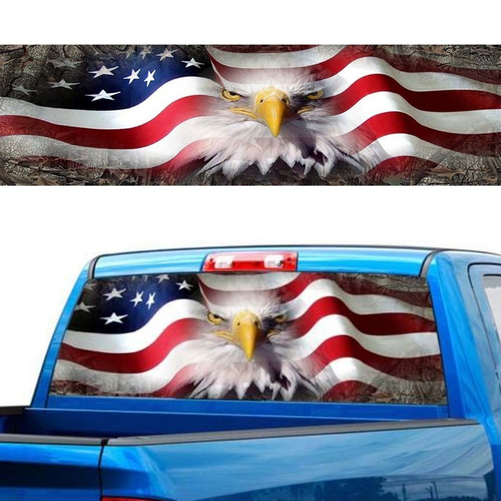 US Flag Bald Eagle Rear Window Decal Sticker Car Truck SUV Van USA American 201
