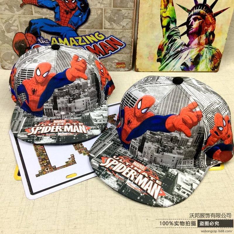 Children Flat eaves Hip-Hop Cap Anime Cap Cartoon Spider-man Baseball cap
