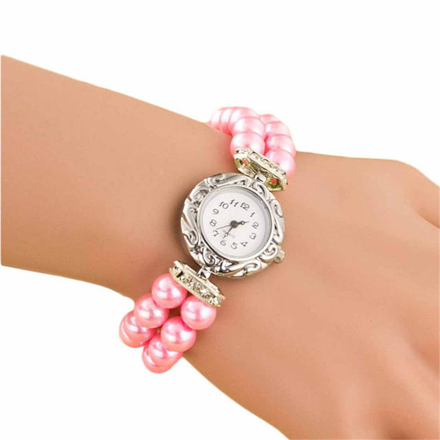 Attractive 2018 Women Students Beautiful Fashion Brand Watch Golden Pearl Quartz