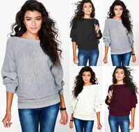 2017 HOT SALE New Fashion Women Tops Solid Color Sexy Elegant Loose Knitted Fabric Streetwear Basic
