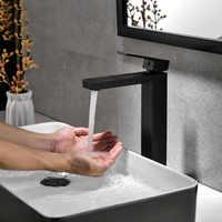 Messing Schwarz/Chrom/Gebürstet Gold Quadratische Tippen Bad Wasserhahn Becken Wasserhahn Kalt-Und Warmwasser Mischer Einzigen Handgriff deck Montiert